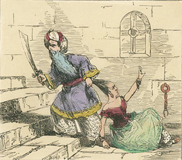 Иллюстрация к сказке «Синяя борода», XIX век. Автор рисунка неизвестен, напечатано в мастерской Эдмунда Эванса.