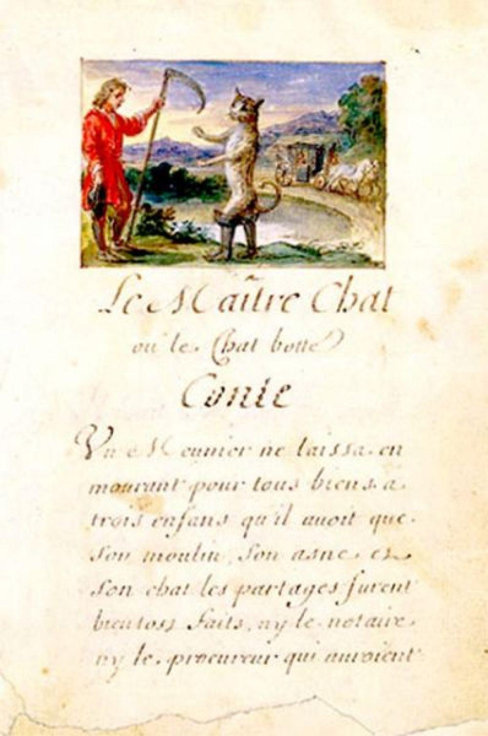 Иллюстрированная рукопись сказки «Кот в сапогах», конец XVII века.