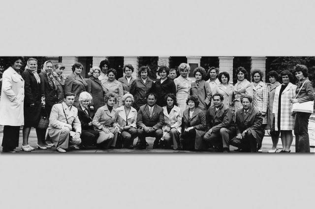 Группа учителей в турпоезде, 1976 год.