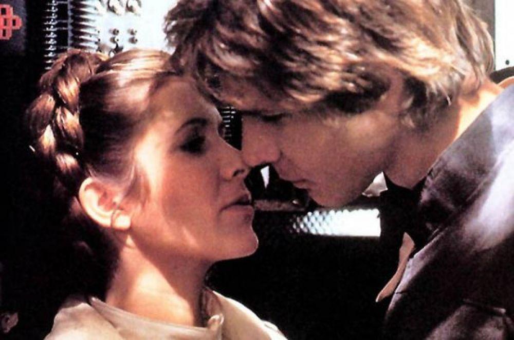 10 место – поцелуй Хана Соло и принцессы Леи в пятом эпизоде «Звездных войн».