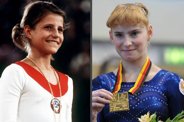 Ольга Корбут и Анастасия Гришина.
