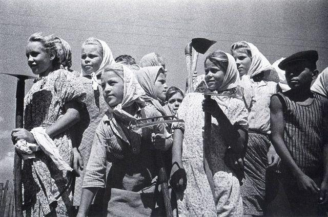Целина. Школьники помогают колхозу. 1955 г.