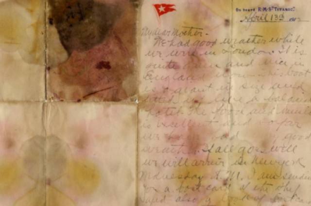 Письмо с«Титаника» продали нааукционе за166 тыс. долларов