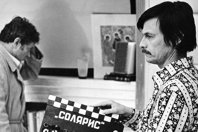 Андрей Тарковский и Донатас Банионис на съемках.