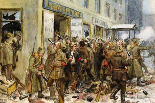 Картина Ивана Владимирова «Погром винного склада». Художник был очевидцем революционных событий.