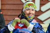 Надежда Скардино после победы в индивидуальной гонке.
