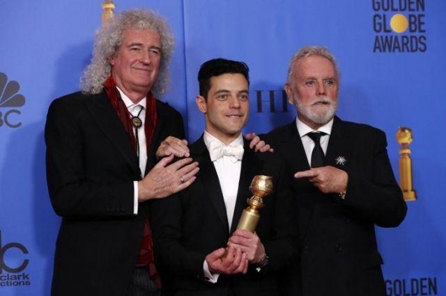 Брайан Мэй, Рами Малек (приз за лучшую мужскую роль) и Роджер Тэйлор.