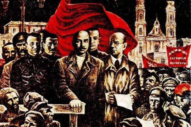 Жилунович с манифестом в руках, Червяков, за их спинами - Александр Мясников.