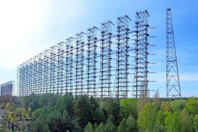 РЛС «Дуга». Панорама комплекса антенн объекта в городе Чернобыль-2. Современный вид.