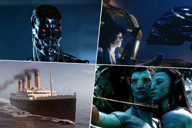 Кадры из фильмов «Терминатор», «Чужие», «Титаник» и «Аватар».