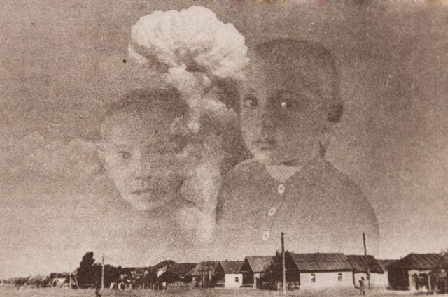Снимок атомного «гриба» наложился на кадр с детьми.