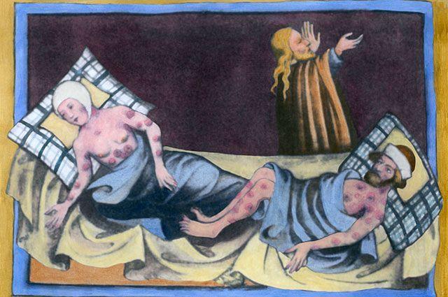 Бубонная чума, средневековая живопись 1411 года.