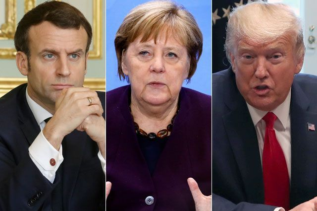 Эммануэль Макрон, Ангела Меркель, Дональд Трамп