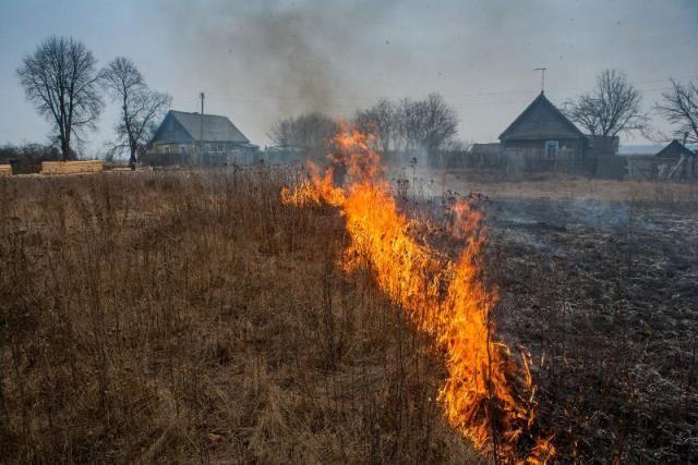 Пинск накрыл смог от горящей сухой травы в пригороде