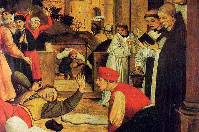 «Святой Себастьян молится за жертв Юстиниановой чумы». Фрагмент картины конца XV в.