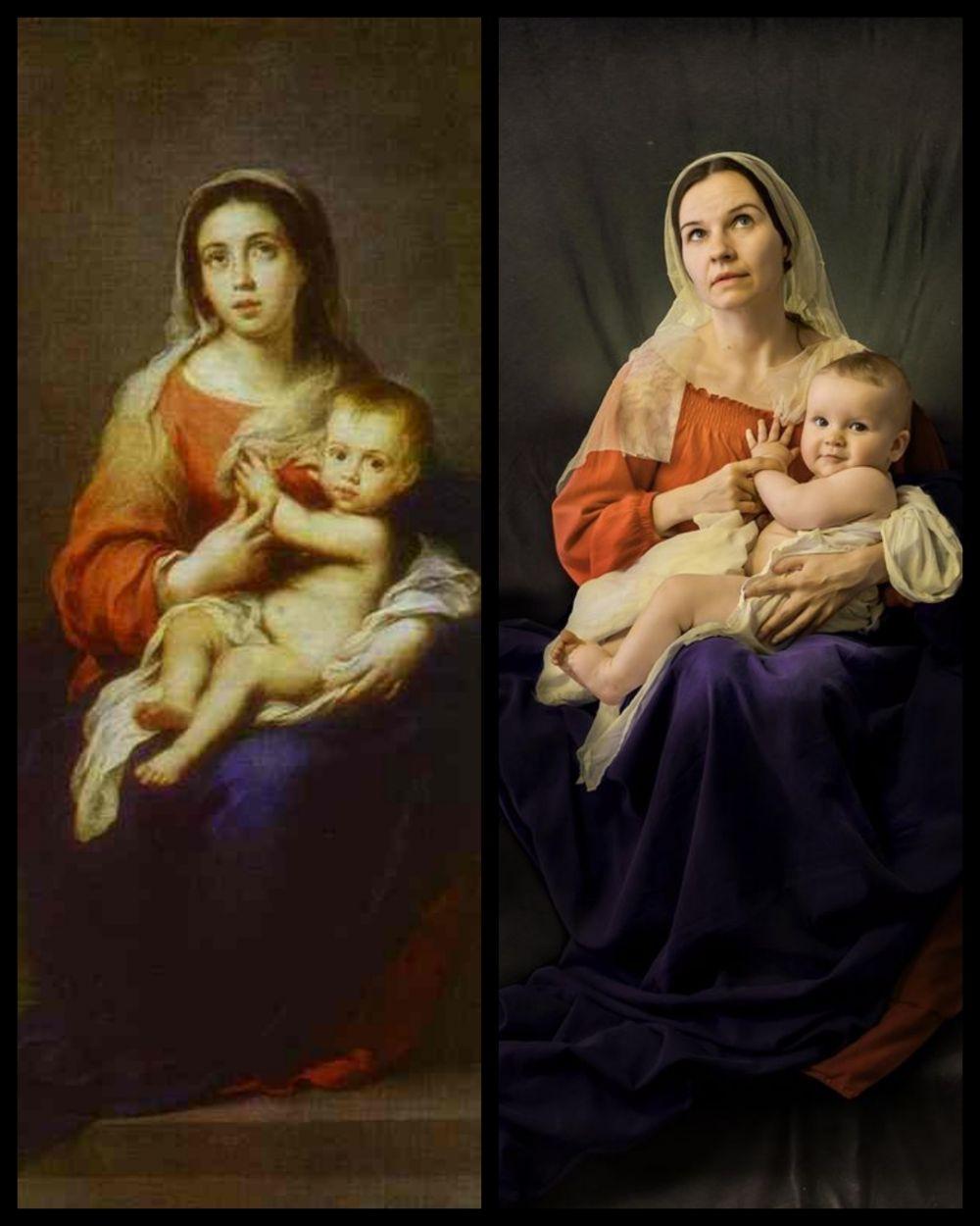 «Мадонна с Младенцем», художник - Бартоломео Эстебан Мурильо. Сложно отличить от оригинала.