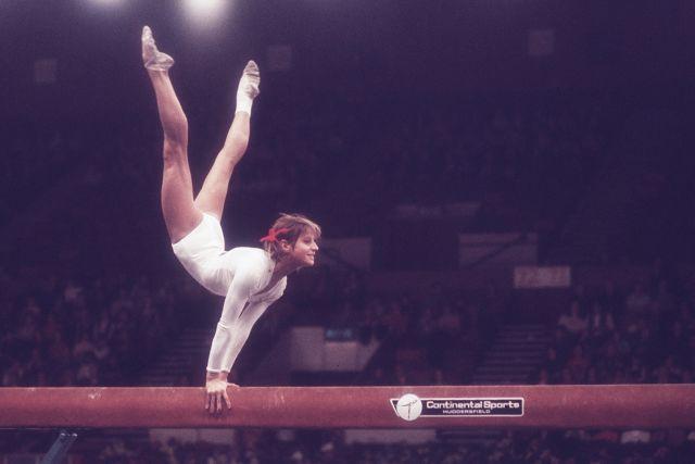 Ольга Корбут. Кубок мира 1975 года в Лондоне.