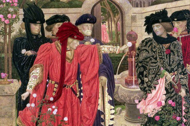Генри Артур Пейн. Сцена в саду Темпла в первой части пьесы «Генрих VI», где сторонники враждующих фракций выбирают красные и белые розы.