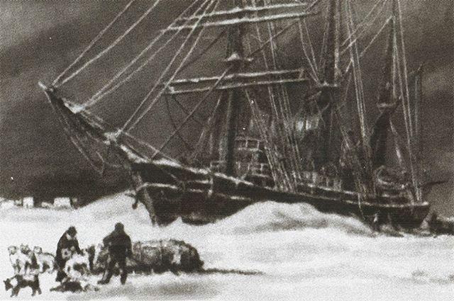 Шхуна «Заря» во льдах. Рисунок участника экспедиции.