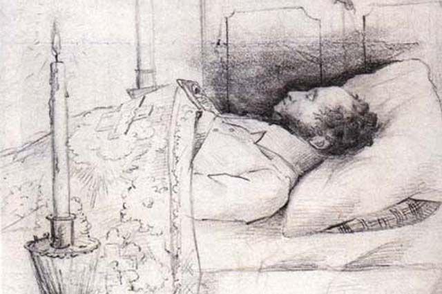 Александр Пушкин на смертном одре.