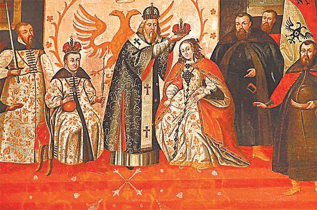Венчание на царство Марины Мнишек в Успенском соборе, 1606 г. Венчание на царство Лжедмитрия I состоялось годом ранее.