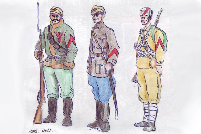 Первые знаки различия солдат Красной гвардии и Красной армии (в частности, солдат Таманской армии, 1918 год).