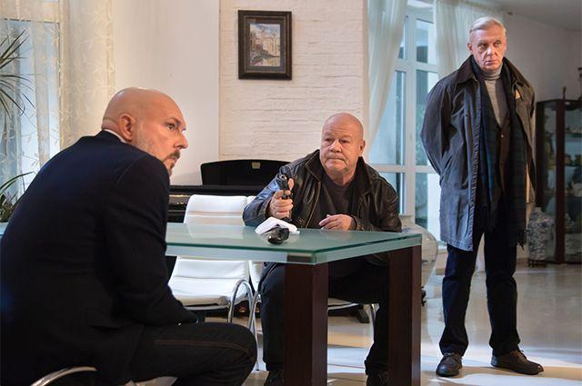 Алексей Нилов, Сергей Селин и Александр Половцев на съёмках сериала «Полицейское братство».