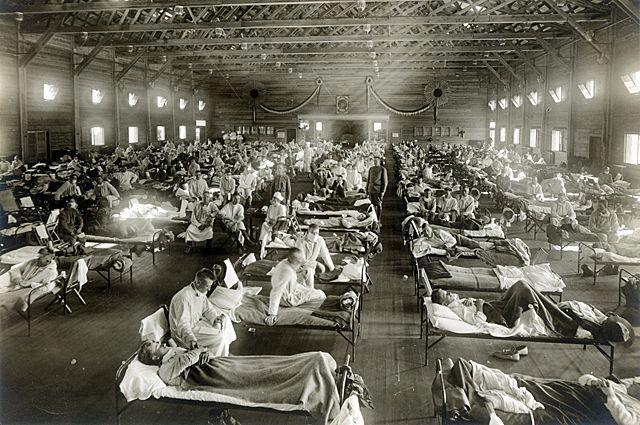 Эпидемия испанского гриппа, Кэмп-Фанстон, Канзас, 1918 г.
