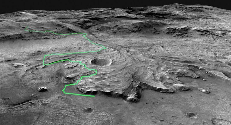 Предполагаемый маршрут марсохода в кратере Джезеро.