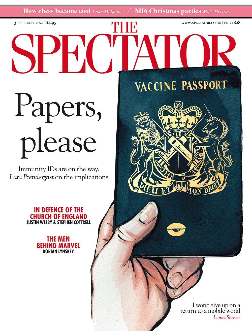 Британский The Spectator за февраль. Паспорт вакцинации - новый «базовый» документ, который скоро могут ввести по всей Европе.