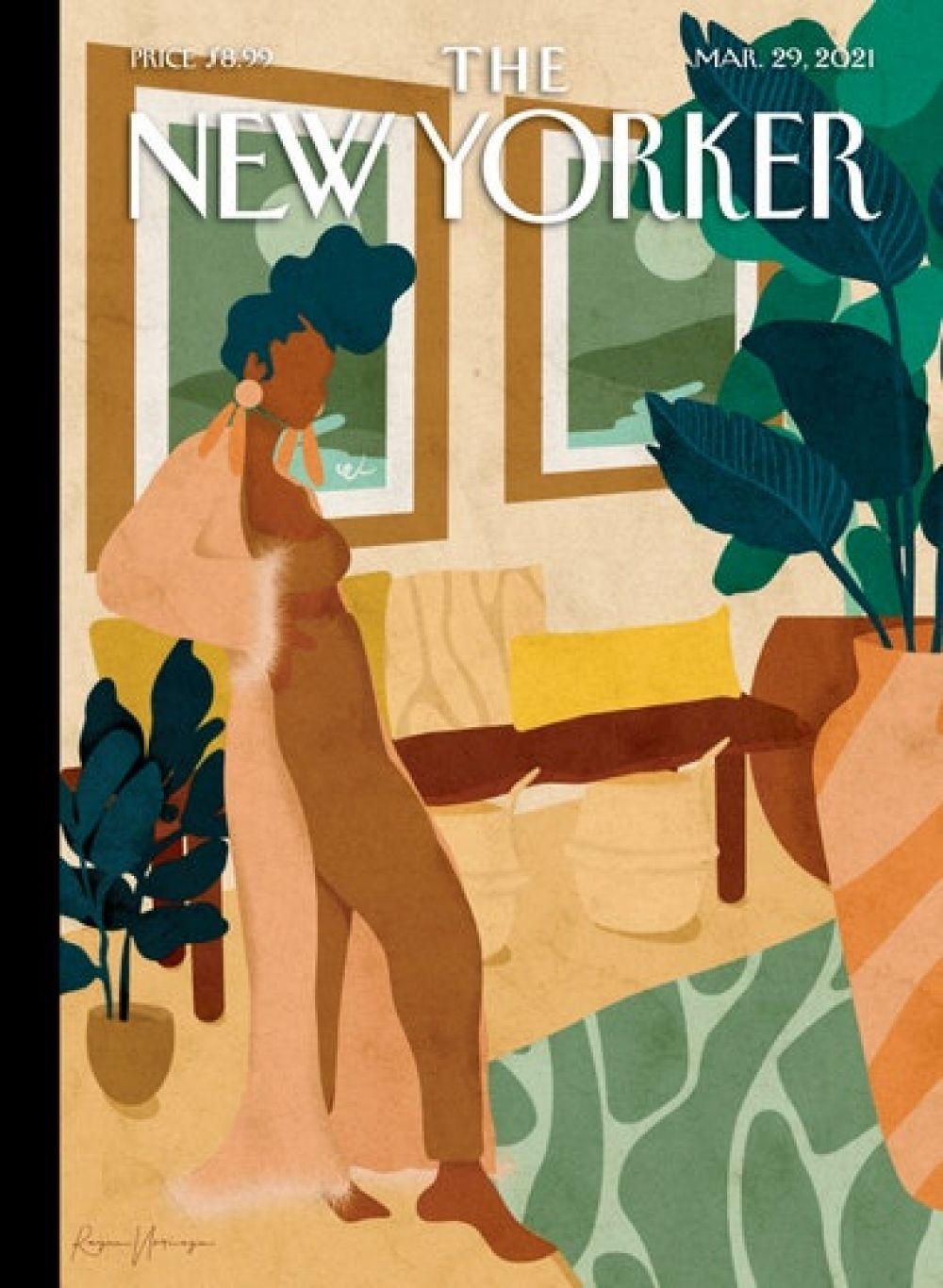 Американский The New Yorker за март. Многие американцы из-за пандемии были вынуждены сменить стиль одежды. В тренде – пижама.