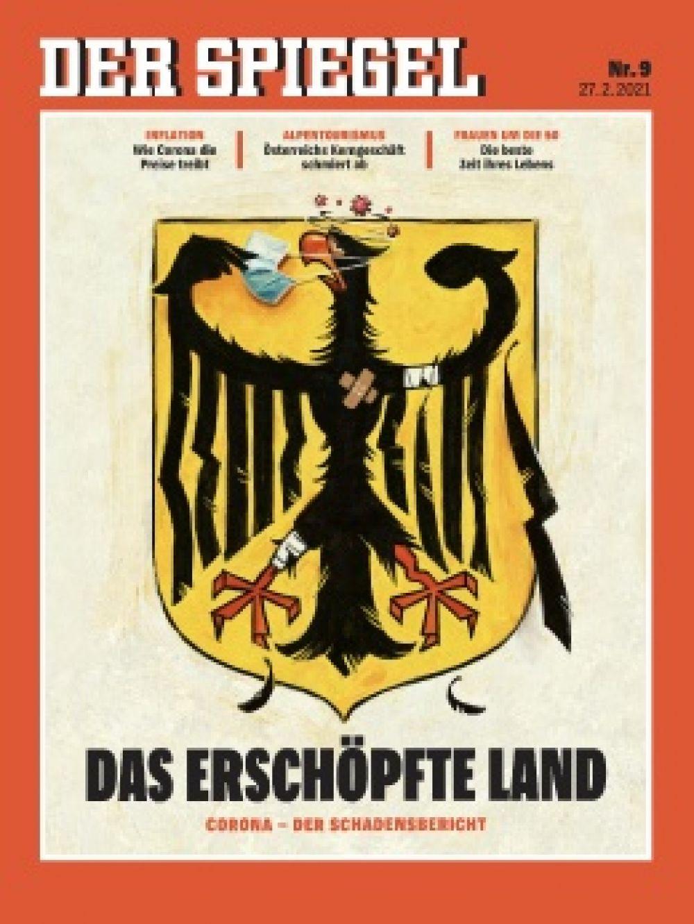 «Шпигель» за февраль. Геральдический орел в маске, и ему явно не по себе. Символизирует то состояние, в котором находились большинство немцев.