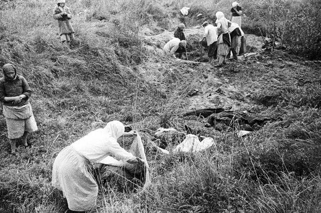 После освобождения Днепропетровской области советскими войсками жители опознают тела своих родных, зверски замученных и расстрелянных оккупантами перед отступлением.