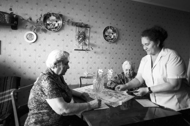 Получение пенсии на дому, 1986 г.