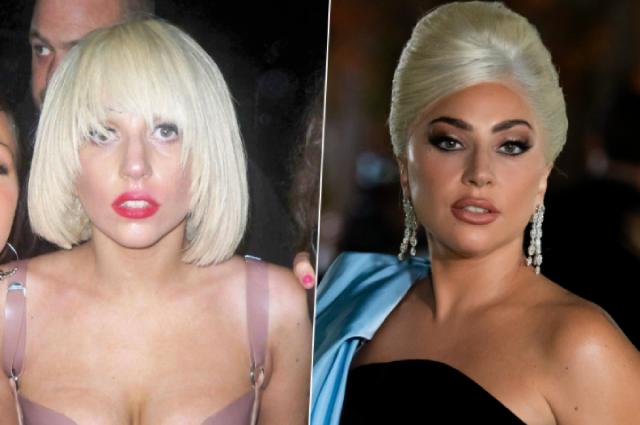 Леди Гага в 2009 и 2021 гг.